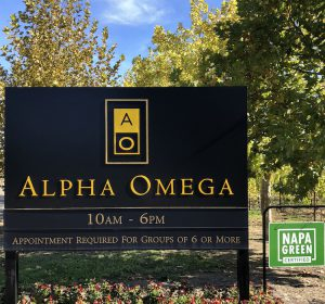 Alpha Omega Green Sign