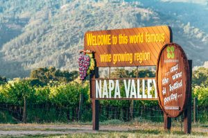 close up of the welcome sign to Napa Valley in California
